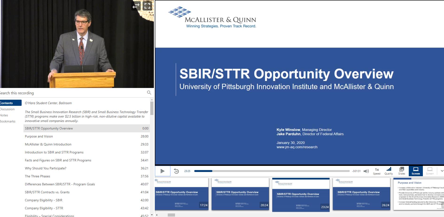 Video Snippet SBIR STTR